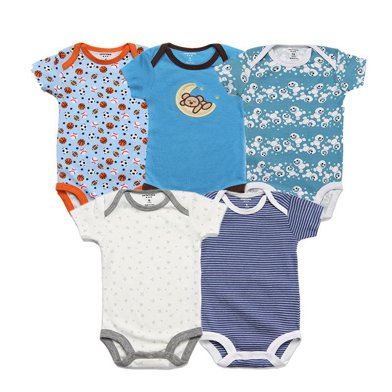 2018 Summer Baby Rompers Cotton Short Infant Jumpsuit 5 Pieces Brand Girls Clothing Set Cartoon Newborn Romper Baby Boy Clothes Y19050602