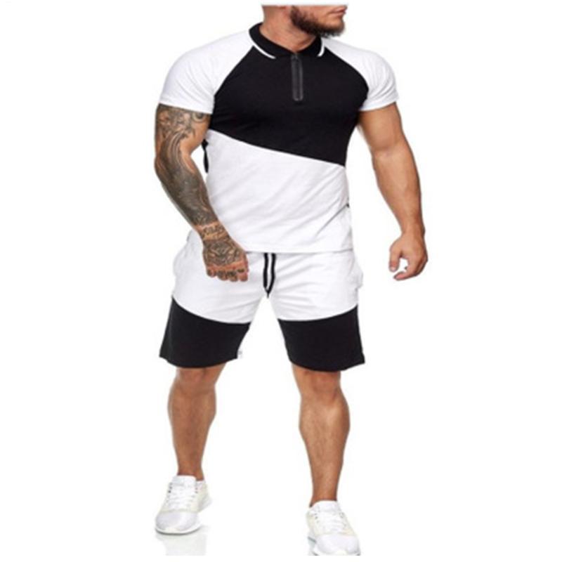 Мужские трексуиты модные мышечные костюмы бегущие с короткими рукавами футболки шорты смеси цвета 2021 летний фитнес спортивный костюм