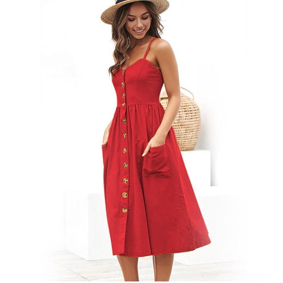 Uzun elbise saten pre61 Yüksek kaliteli yumuşak elbise Yaz spagetti çok kadınlar Casual pürüzsüz Elbise Spagetti Askı Elbise Düğme midi sundress
