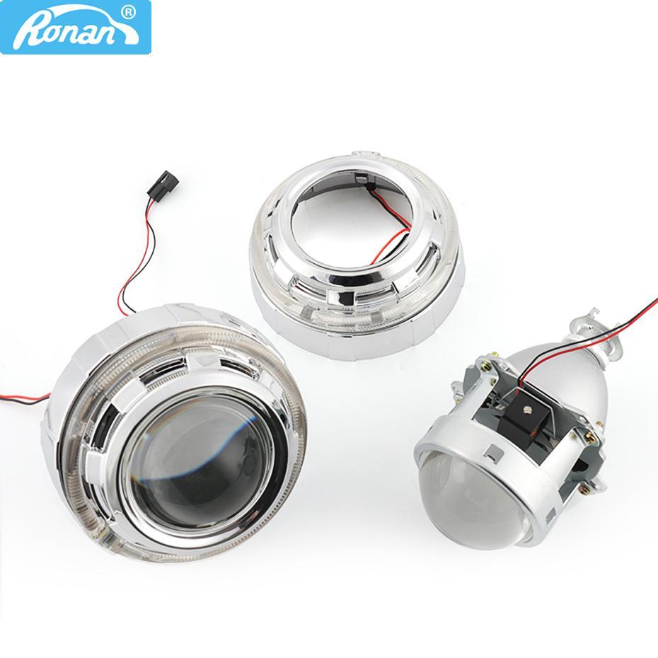 Ronan metal 3.0 '' H1 HID lente do projetor bixenon LHD RHD caber H1 H4 H7 LED farol óticos Angel Eyes Car Styling DIY retrofit