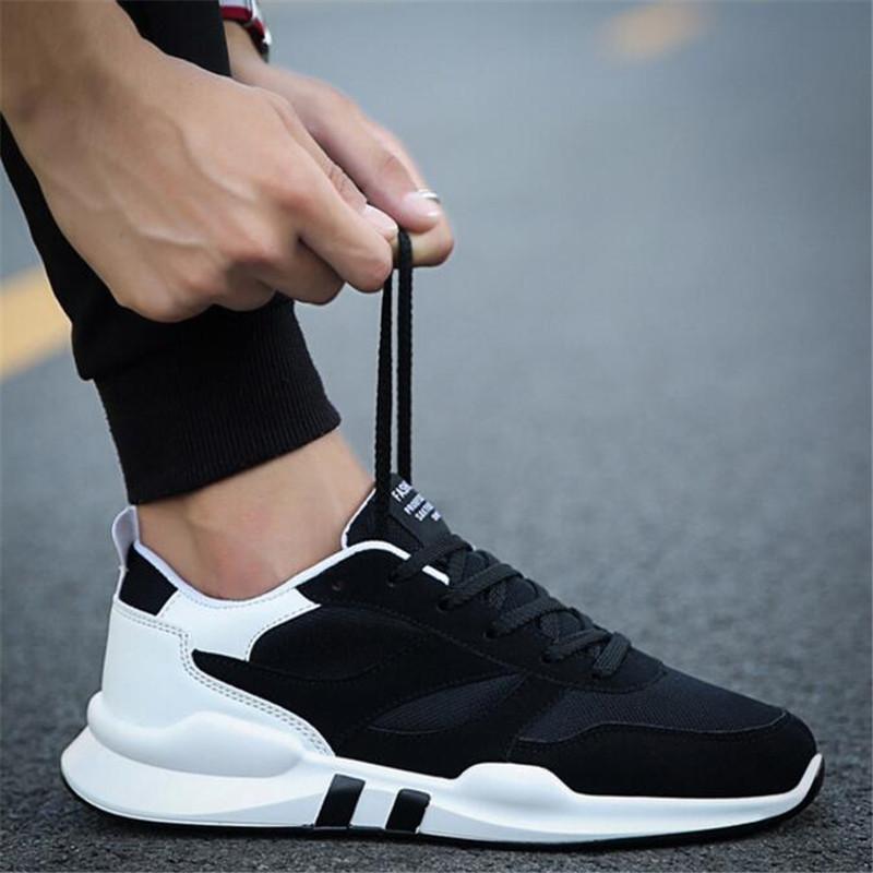LAIDILANGTU Erkekler Sneakers ayakkabı trendi ilkbahar ve sonbaharda yeni erkek örgü nefes hareketi ayakkabı vahşi rahat ayakkabı eğilim