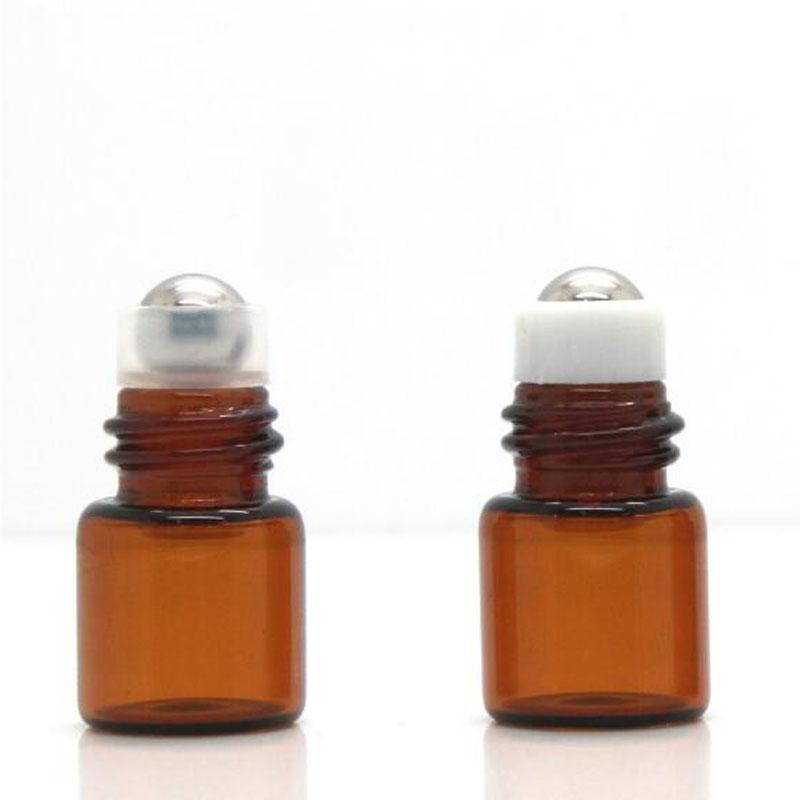 Amber bola de rodillo Esenciales botellas de perfume del aceite 1 ml 2 ml rollo de muestra en el rodillo botellas de cristal Bola de viajes 100pcs / lot