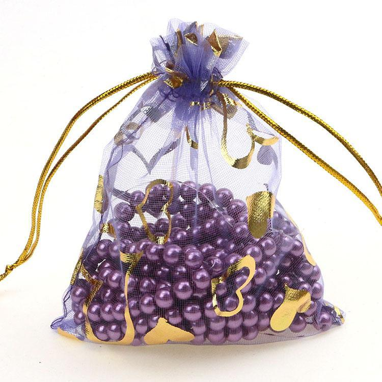 Wholesale- Free Shipping 100pcs/lot 11x16cm Heart Purple color Organza Bags Wedding Favour Gift bag Jewellery pouches