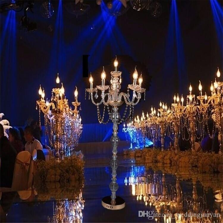 "10 pcs/lot 31"" gold &sliver 6 arm candelabra centerpiece with flower bowl for wedding decor"