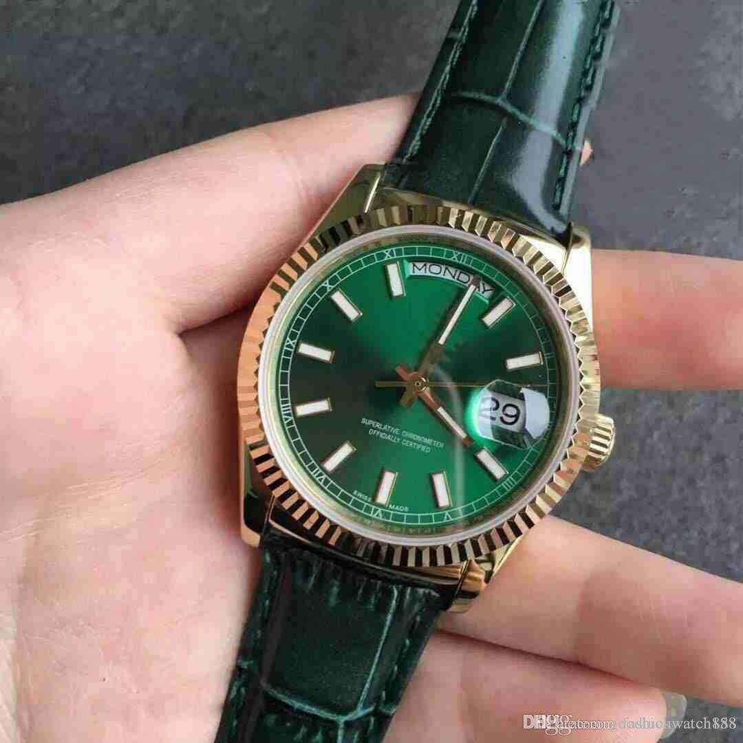 2019 Hot vente journal bracelet en cuir double classique calendrier neutre montre en acier inoxydable machine automatique 40mm montre