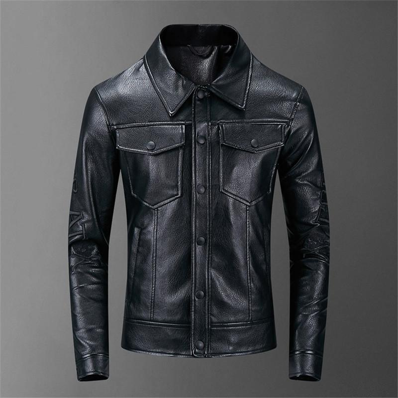 2020 New Spring Autumn Mens Leather Jackets Stand Collar Coats Male Motorcycle Slim Outerwear Mens Brand Clothing