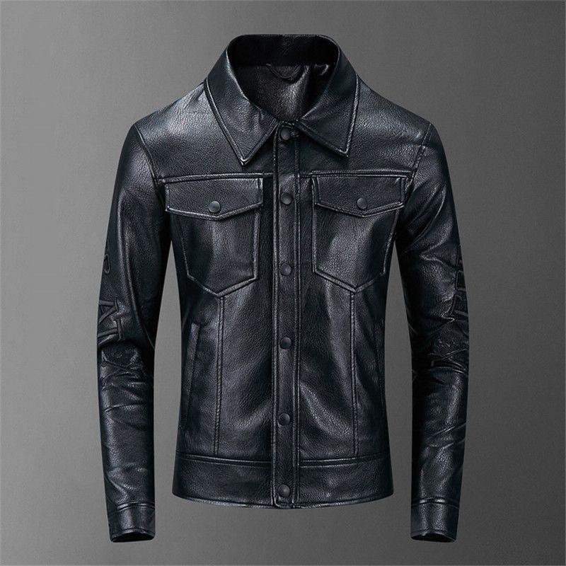 2020 Yeni Bahar Sonbahar Erkek Deri Ceket Yaka Coats Erkek Motosiklet İnce Dış Giyim Erkek Marka Giyim Standı