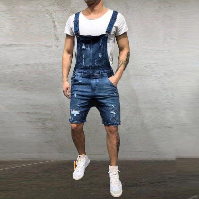 Brand Men's Ripped Jeans Jumpsuits Shorts 2019 Summer Fashion Hi Street Distressed Denim Bib Overalls For Man Suspender Pants