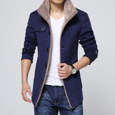 Avrupa ve Amerika Birleşik Devletleri yeni ince artı kadife erkek ceket Kore versiyonu erkek rüzgarlık kuzu saç erkek yün ceket