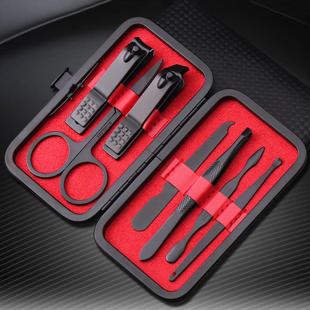 7шт / набор для маникюра кусачки для ногтей Педикюр набор Портативный Путешествия Hygiene Kit из нержавеющей стали Nail Cutter Набор инструментов