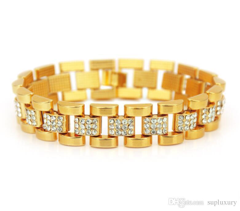 Nouveau Hommes Bijoux Designer Bracelet 21.5cm or avec diamant Bracelet Hip-Hop Cool Style Bracelets d'argent européens et américains
