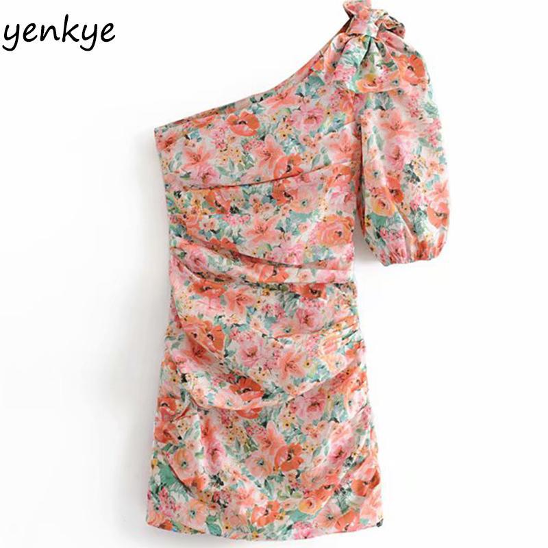 Summer 2019 Women Sexy Oblique Floral Print Asymmetric Dress Elegant Lady Short Sleeve Draped Bodycon Mini Dress HHWM2216