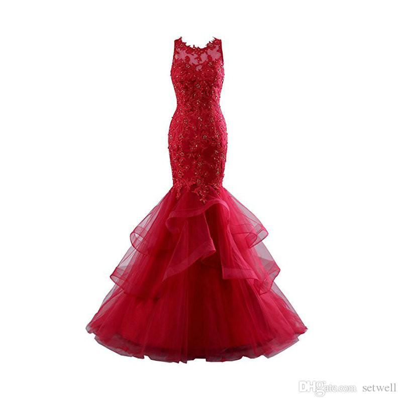 새로운 빨간색 Organza Prom 드레스 사용자 정의 우아한 레이스 인어 Mopping 파티 연회 저녁