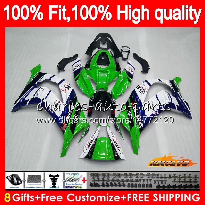 Inyección para KAWASAKI ZX 10 R ZX1000 C ZX10R 11 12 13 14 15 HC.AA ZX 10R 1000CC ZX10R 2011 2012 2013 2014 2015 OEM carenado azul verde