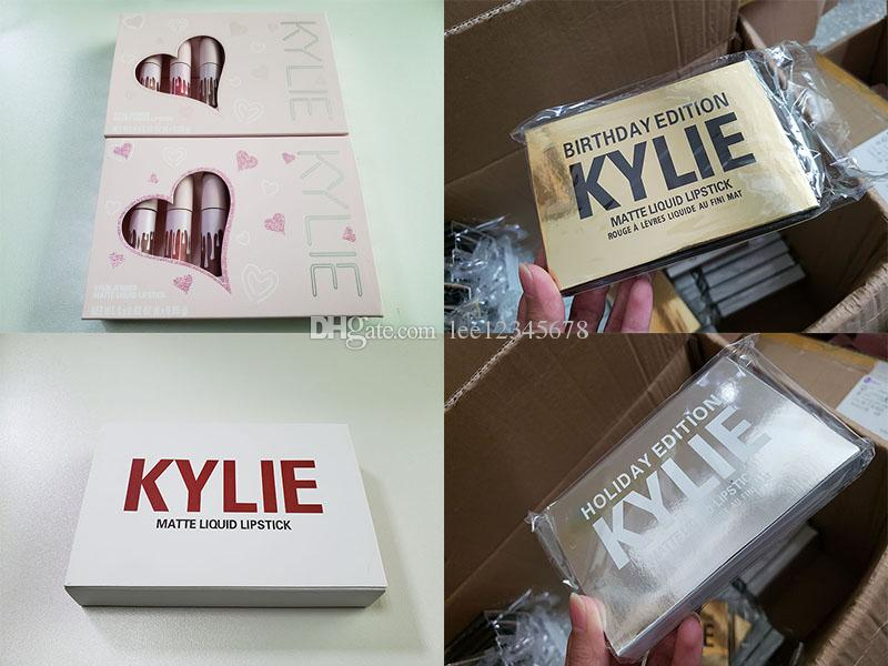 6pcs set Kylie lipstick Valentine & holiday & pink & Birthday Edition lip Kit lipgloss Kylie Matte Liquid Lipsticks Cosmetics