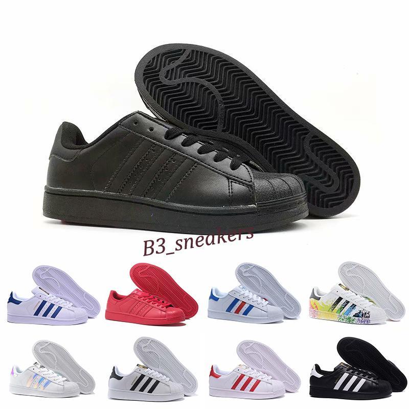 Adidas Superstar 80s Tamanho 36-45 original Superstar holograma Branco Iridescent Junior Superstars Sapatos Casuais Super Star Women Women Leather Shoe B9