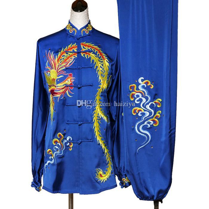 중국어 태극권은 쿵후 유니폼 태극권 경쟁 의류 무술 여성 남성 소녀 소년 어린이 성인 아이들을위한 기모노 옷