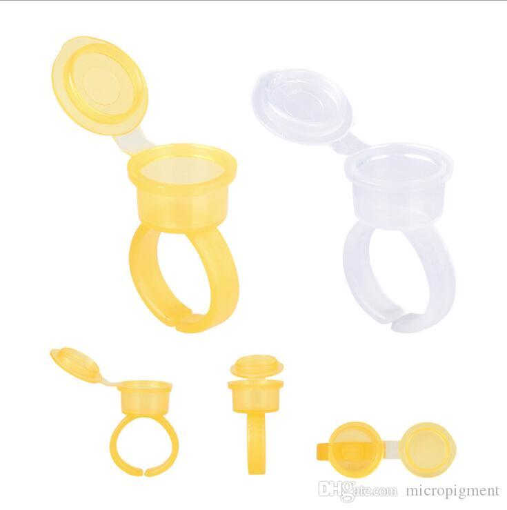Transparent Tattoo Ink Ring Cups With Lid Cover Cap Permanent Makeup Pigment Holder Eyebrow Eyelash Extension Microblading