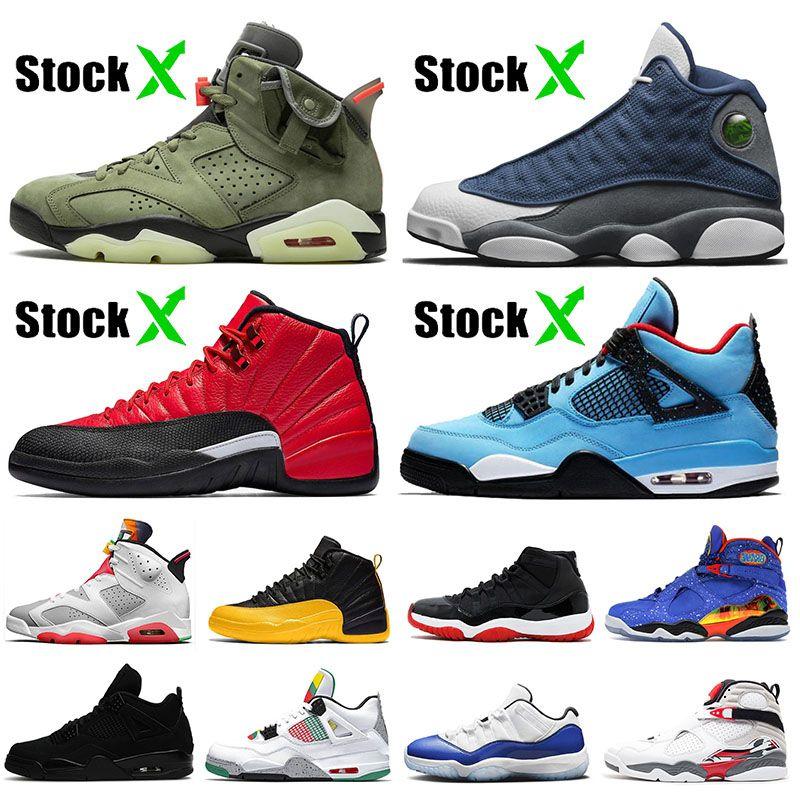 Travis Scott 6 6s 4 4s 2020 11s 12s Flint 13 13s reverso Flu Jogo Bred Womens Basketball Mens sapatos 8s formadores sneakers