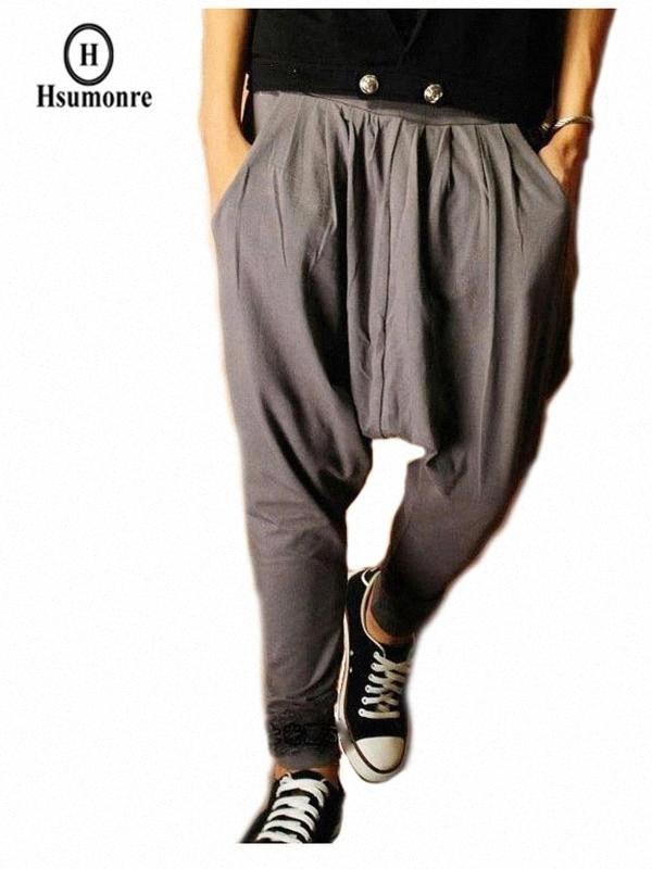 Männer-Harem-Hosen mit tiefem Schritt Joggers elastische Taillenhose Baggy zulaufendem Bein Hip Hop-Tanz Jogginghose Grau Gelegenheits Techwear PsjP #