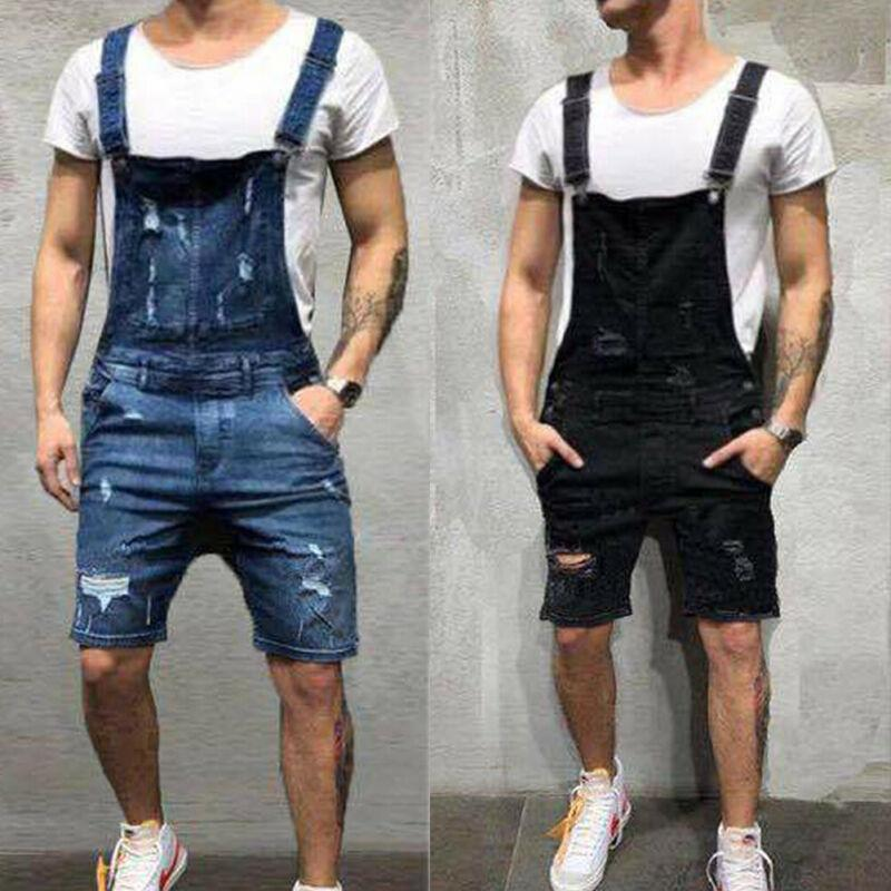 2020 uomini popolari jeans strappati tute Hi Via Distressed Denim Salopette per l'uomo di jeans bretella pantaloni pagliaccetti del Maschio