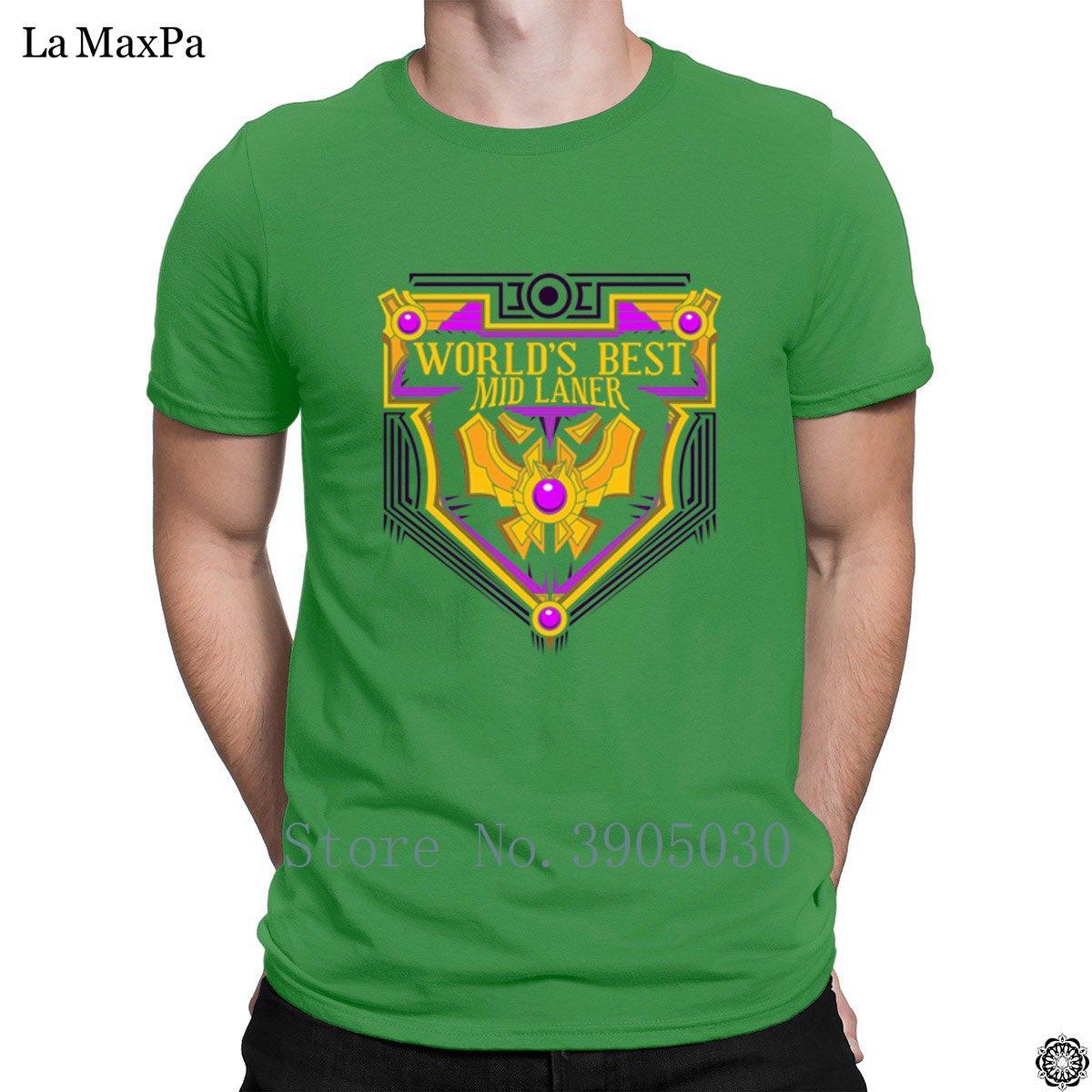 Caráter Rodada T-shirt para a camisa Melhor Mid Laner t dos homens Mundial Kawaii Melhor na moda Homens Camiseta Top Quality Masculino Neck