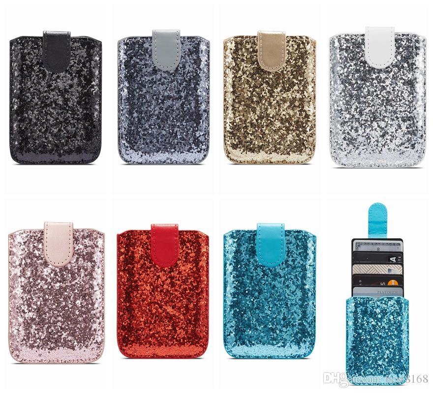 Universal 5 karten slot 3 mt aufkleber ledertaschen für xr p30 s10 hinweis 10 beutel stick on id kreditkarte push back case bling glitter sparkle
