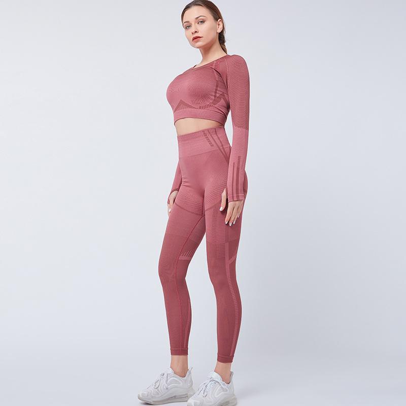 Yoga Set Frauen-Sport-Klage Gym Kleidung 2 Stück Seamless aushöhlen Fitness Langarm Crop Top hohe Taillen-Trainings-Gamaschen