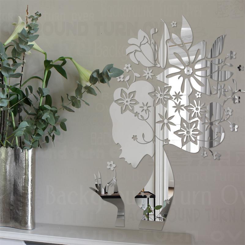 Зеркало стены наклейки наклейки домашнего декора для спальни украшения комнаты декоративные акриловые дом Фея профиль лепестки цветов R191 CJ191212