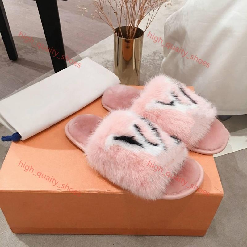 Louis Vuitton slippers 2020 جديد فرو المنك نساء الصفحة الرئيسية النعال مع الفراء، لينة جناح شقة البغال الحالم النعال أحذية نسائية براون Xshfbcl الزميل،