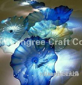 "Ocean Series Clear Blue Glass Wall Art with Sprial Patterns Hand Glassblowing Murano Glass Wall Decor Plate 16"" -LRW0033"