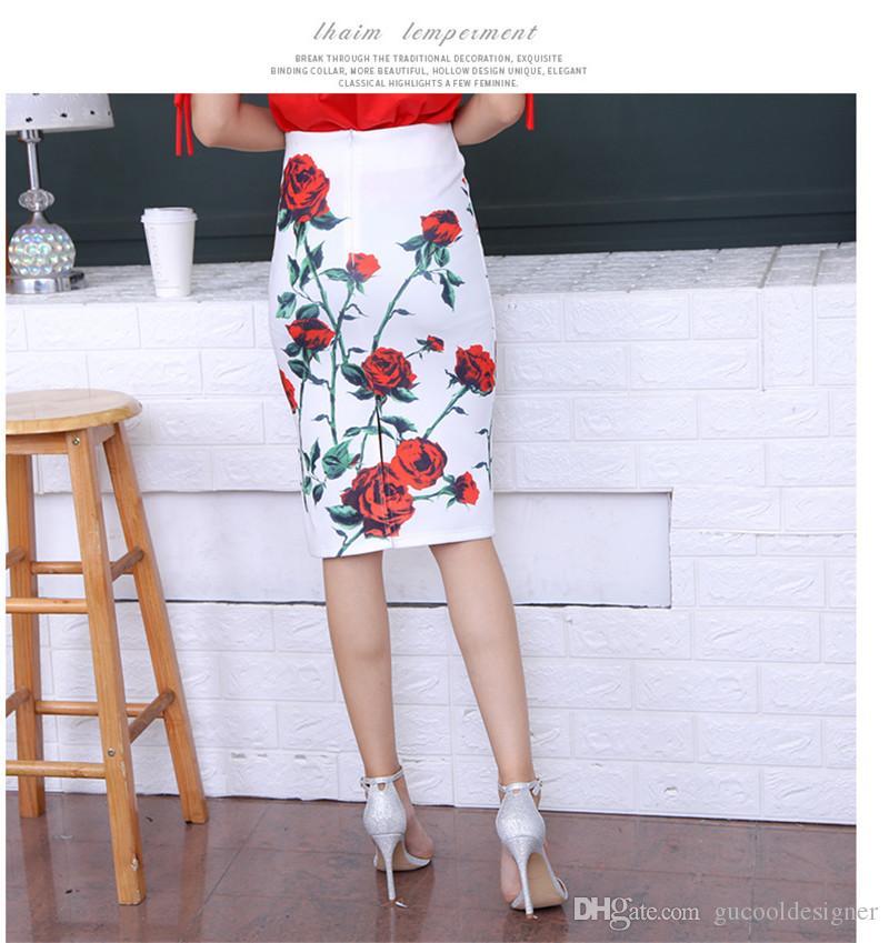Weibliche Blumenmuster schlanke Röcke Sommermode getäfelten geraden Kleidern lässig Designer hohe Taille Frauen Bekleidung