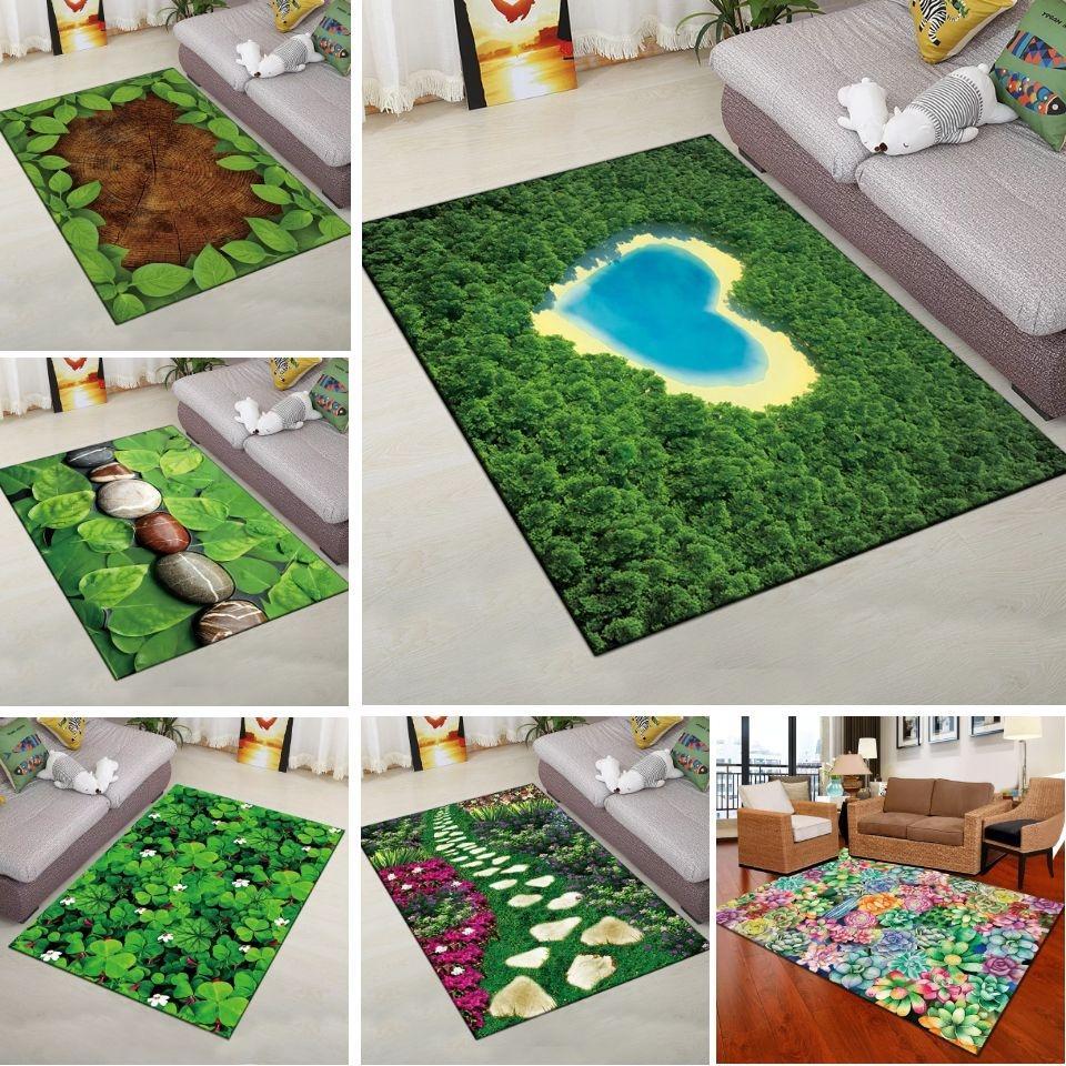 3D Green Plant Carpet Гостиная Прямоугольник Простые Кухонные Коврики Пол Коврик Мягкая Дверная Коврик Ванная Комната Вход Моющийся Antislip
