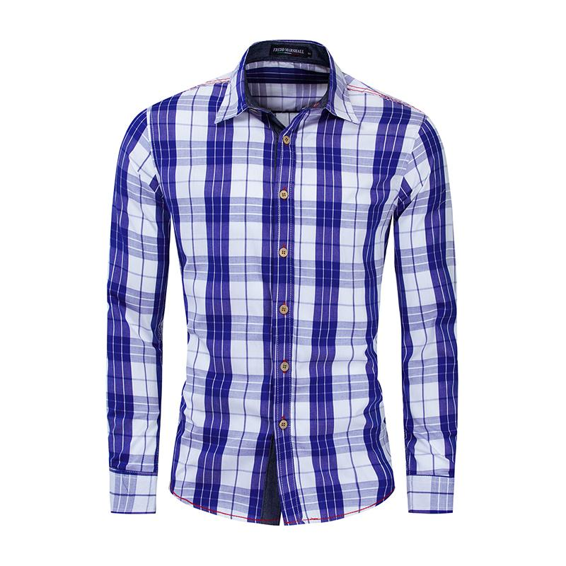 European size Summer Fashion New 2020 Plaid Shirt Men Casual Business Long Sleeve Slim Fit Shirt 100% Cotton Male Shirts 193