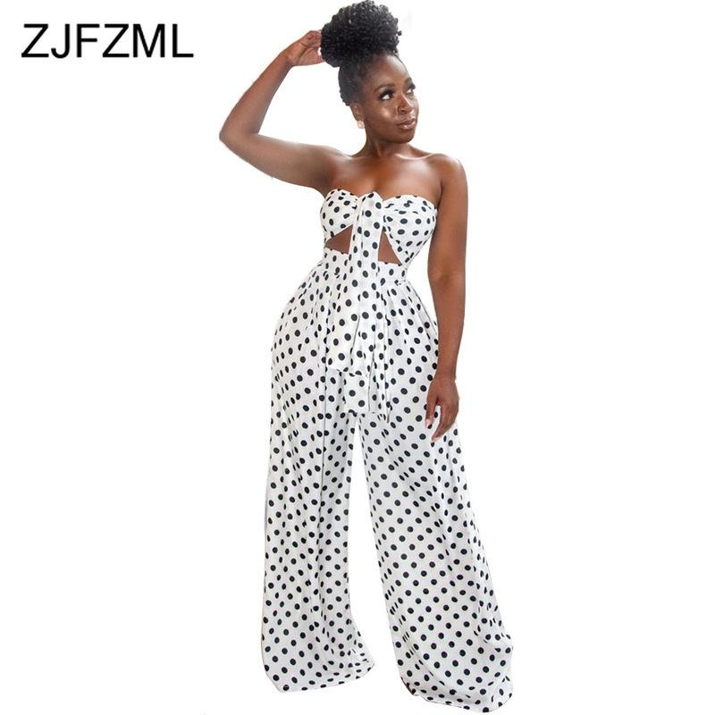 Black White Polka Dot 2 Piece Sweat Suits Women Clothes Bow Tie Off Shoulder Crop Top And Wide Leg Pants Two Pcs Set Tracksuit Y19062601