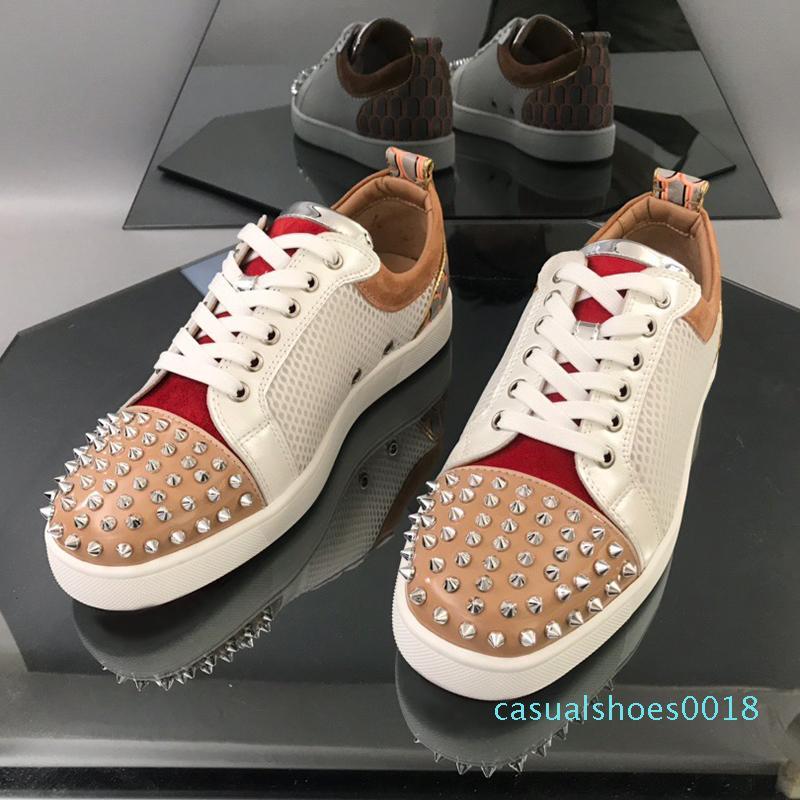 Plate-forme de luxe De Mode Designer Hommes Femmes Chaussures Sneakers Rouge Fond Argent pointes ornent Toecap et talon compteur Grande Taille 1213 Casual c18