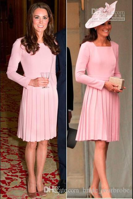 Beautiful Modern High Neck Knee Length Pink Satin kate middleton dress Formal Evening Party Dresses With Pleated long sleeves prom gowns