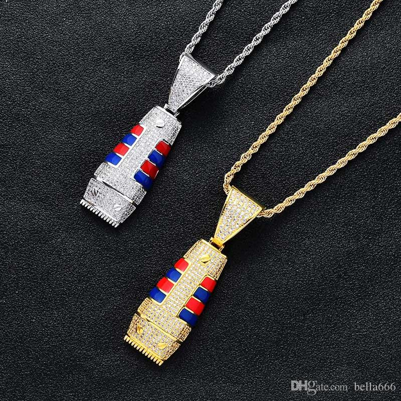 Men's Gold Silver Color Personality Creative Razor Hiphop Pendant Necklace Paved Cubic Zirconia Enamel Charm with Chains Hipster Jewelry