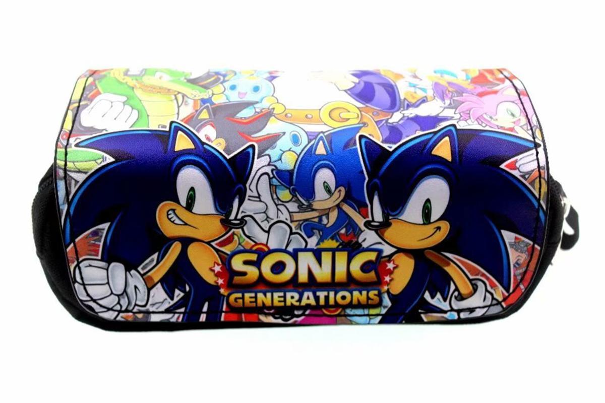 Sonic the Hedgehog PU + Sac en toile cosmétique étudiants Papeterie Sac pochette maquillage Organisateur