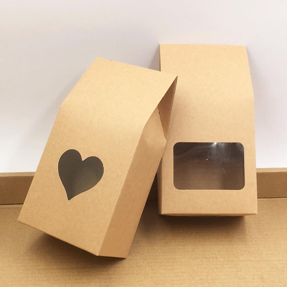 50pcs del partido del papel de Kraft / boda bolsas de regalo, la torta / Chocolates / caramelo bolsos del embalaje del Stand Up Food PVC transparente cajas de sello de la ventana 8 * 16 * 5cm SH190920