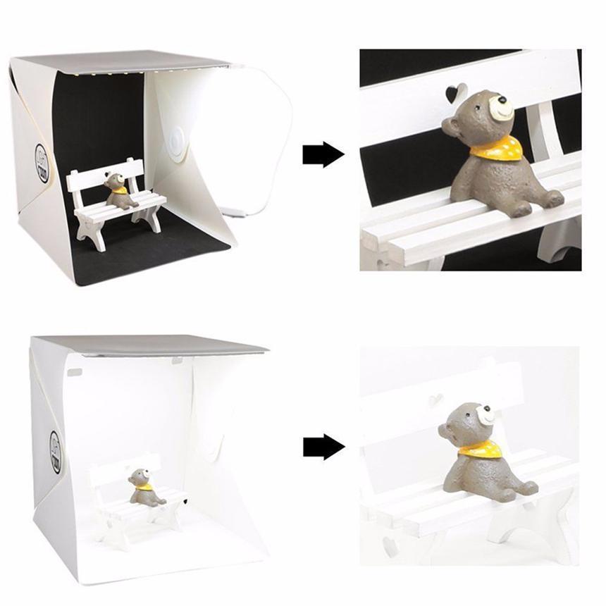 Mini estudio de la foto caja de fondo la fotografía Built-in Caja de luz portátiles pequeños artículos Fotografía contextos caja plegable Kit de Iluminación Carpa