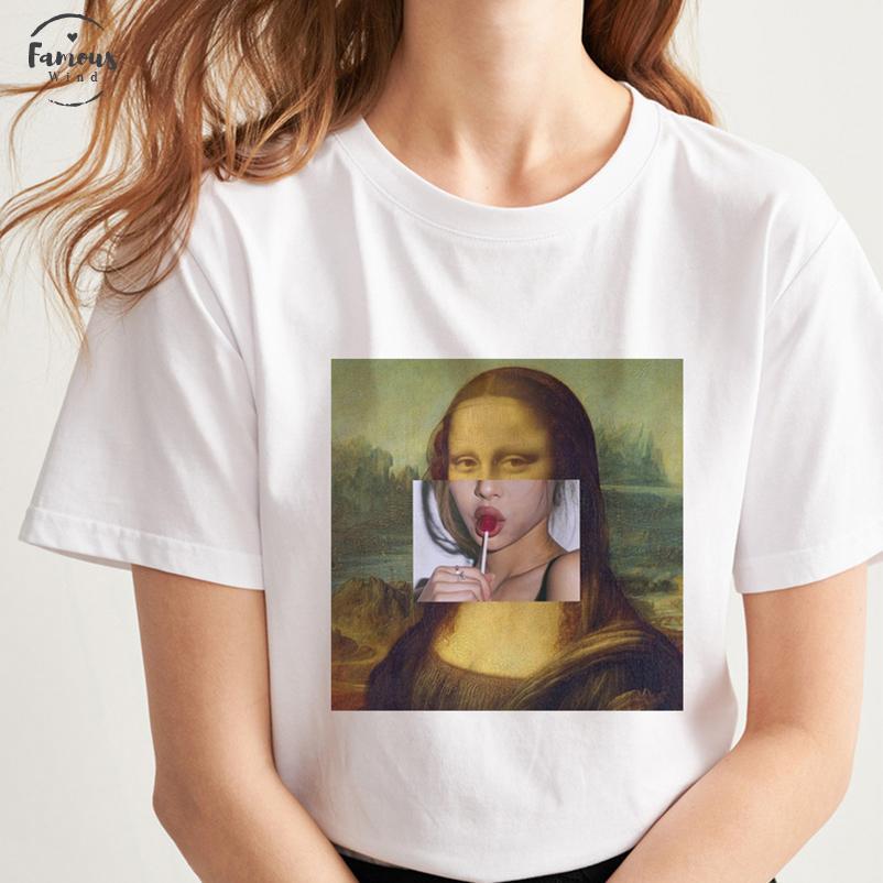 Parodia de Mona Lisa de belleza niña come azúcar verano de la impresión vestido de la manera ocasional Harajuku Ins personalidad Womens T tapas de la camisa