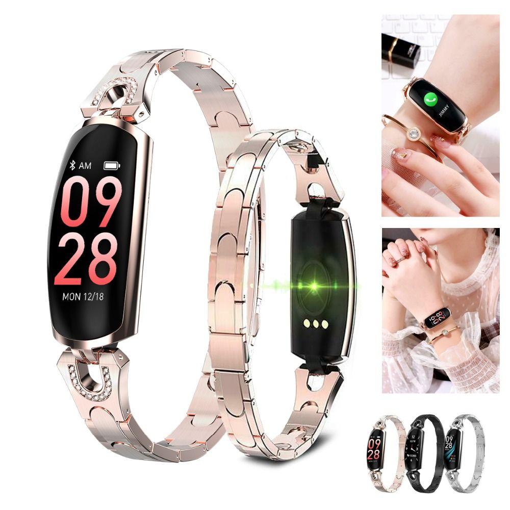 AK16 Ladies Smart Watch Bracciale Heart Rate Sleep Pedometro Sport Bracciale H8 Bracciale IP67 Waterproof Girl Best Gift