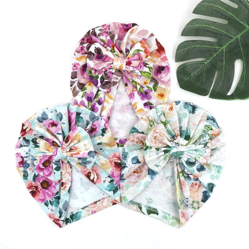 9 Pcs / Lot Floral Print Bowknot Caps Beanie Vintage Cotton Earmuff Hats Children Headwear Spring Summer Autumn Baby Hat Fitted