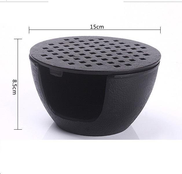 Pequeña de hierro fundido Barbacoa de carbón parrillas de barbacoa portátil estufa de vela titular de la base de la tetera de té Retro Mini Horno de calentamiento 15 * 8,5 cm 118