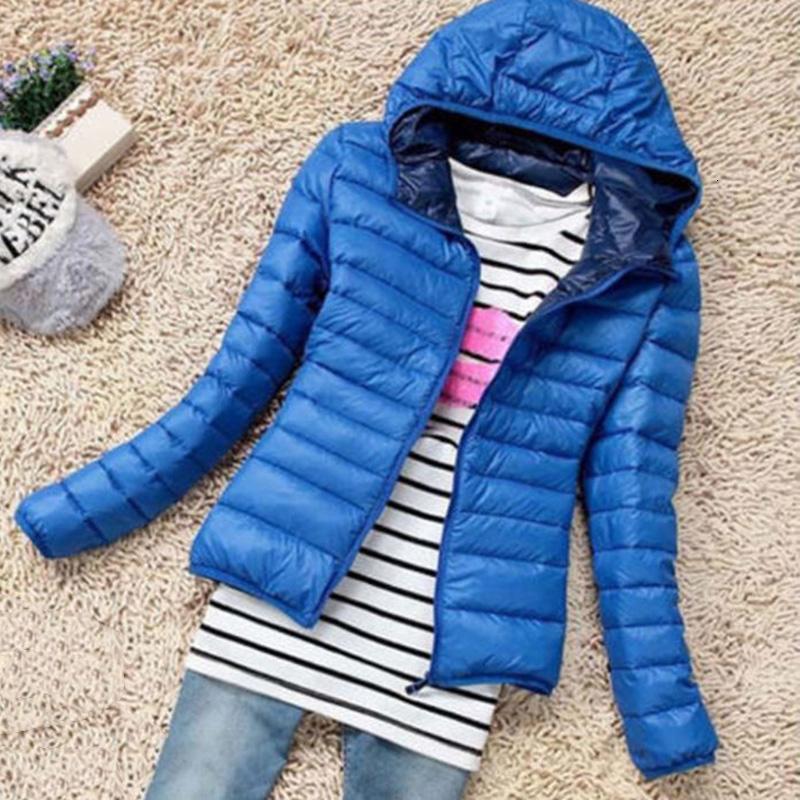 Mince manteau veste à capuche court manteau coton dames collier puffer bulle des femmes fermeture à glissière en plein air de mode légère T190909