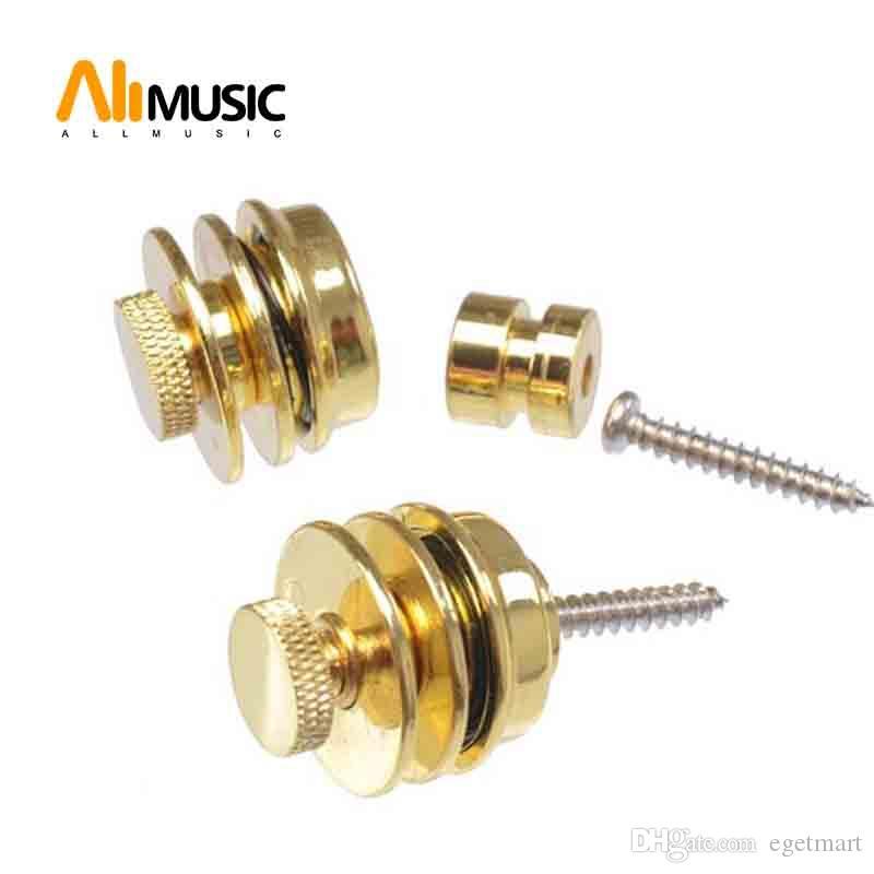 Guitarra elétrica correia de guitarra 2PCS / LOT Plano de bloqueio da cabeça Para Baixo Preto Ouro Chrome