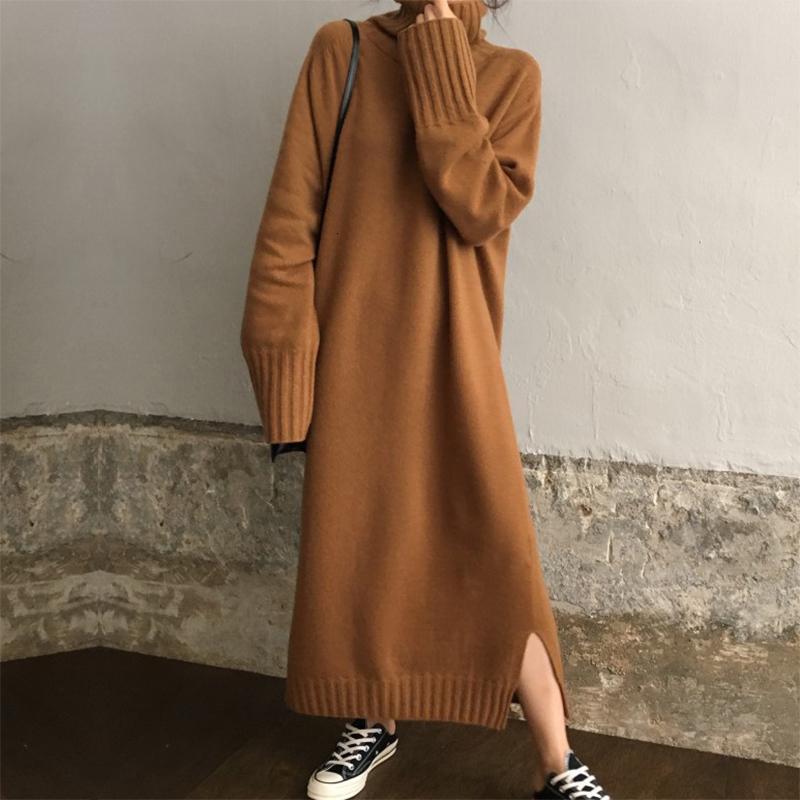 Пуловер вязаный Длинный свитер платье Осень Зима Водолазка Твердая Повседневный Maxi платье Batwing с длинным рукавом Платье Robe Прицепные Femme CJ191205