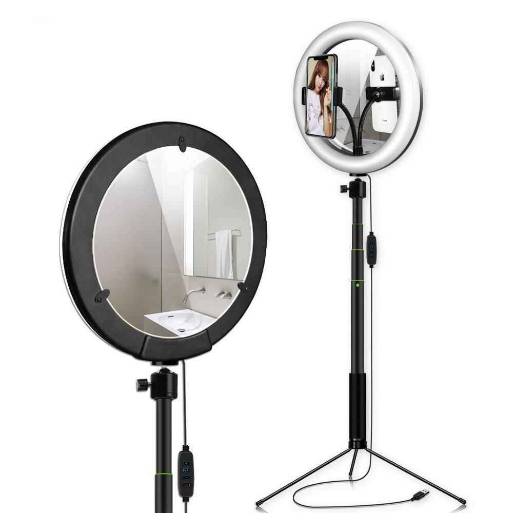 Halka Işık ile Tripod Standı Telefon Tutucu Seti 26cm / 10inch Fotoğraf Halka Lamba Makyaj Canlı yayın YouTube Video ile Ayna İçin