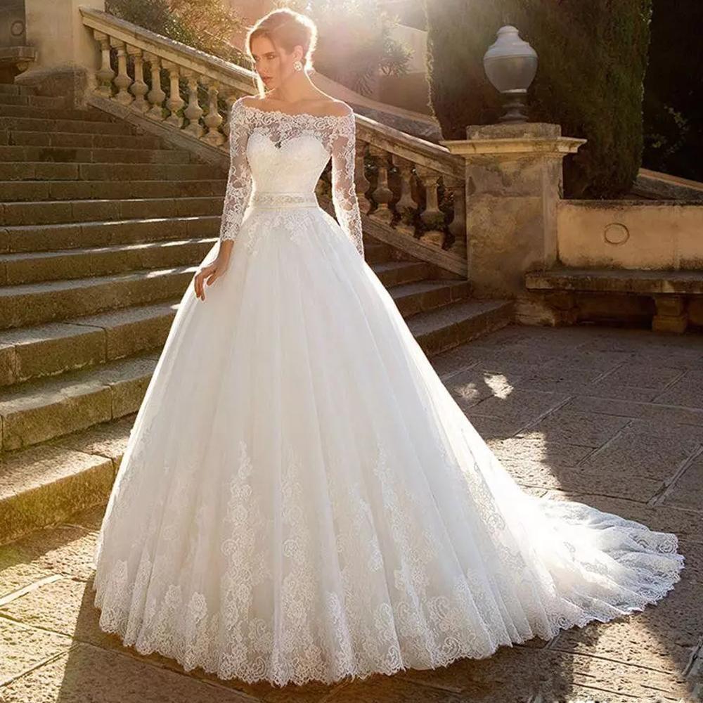 Klasik Prenses Robe De Mariee Tül Gelinlik Tekne Boyun Uzun Kollu Şerit Kanat Şapel Gelin Kıyafeti Dantel Balo Düğün Giyim